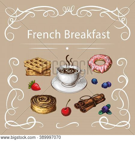 Pastry And Coffee Vector Illustration With Curly Frame On Beige Background. Coffee Cup And French De