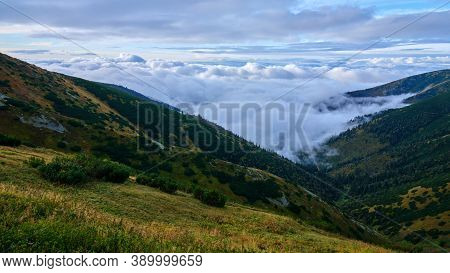 Beautiful View On Clouds Rolling Over Mountain Ridges, Low Tatras, Nizke Tatry, Slovakia.