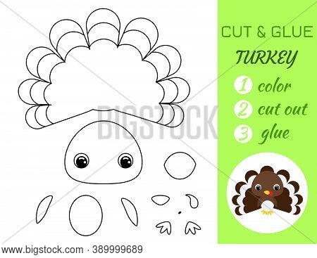 Coloring Book Cut And Glue Baby Turkey. Educational Paper Game For Preschool Children. Cut And Paste