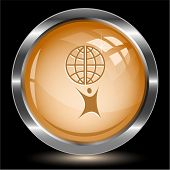 Little man with globe. Internet button. Vector illustration. poster