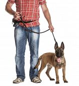 Man holding a leashed and panting Belgian Shepherd against white background poster