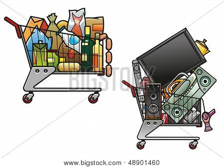 Shopping carts with goods