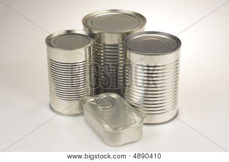 Assortment Of Various Silver Tin Can