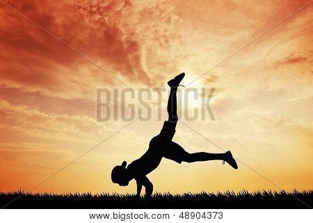 Breakdancer At Sunset