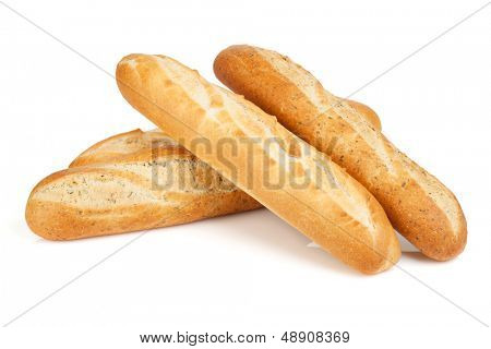 Various of french baguette. Isolated on white background
