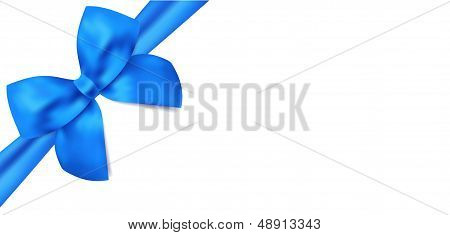 Gift certificate, voucher template with isolated blue bow (ribbons)