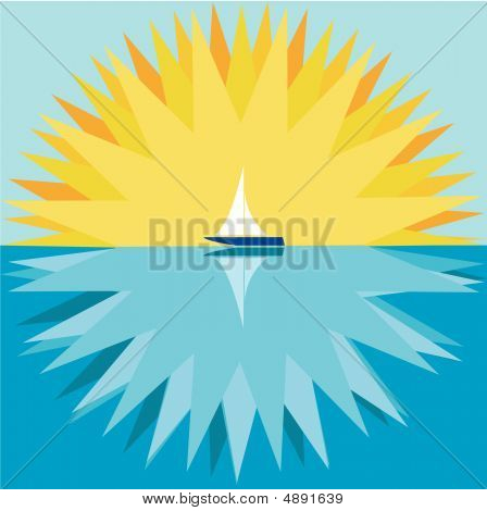 Sun And Sailboat.eps