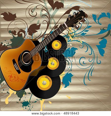 Grunge Music Vector Background With Guitar  And Notes On Wooden Texture