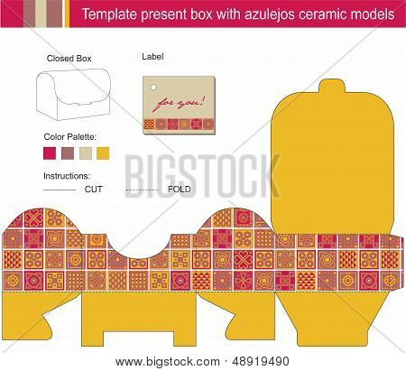 Vector Template For Present Box With Blue Azulejos Ceramic Models