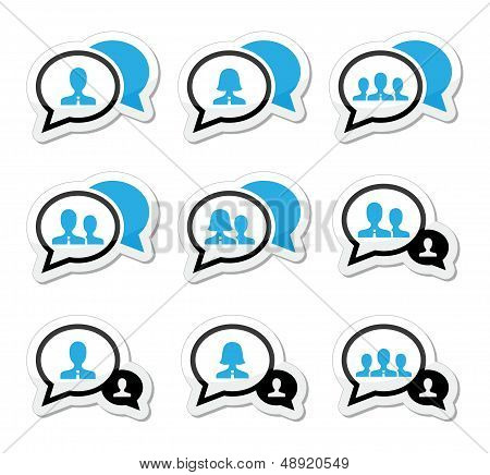 Business meeting, communication icons set
