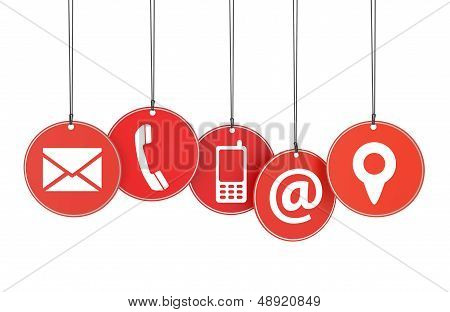 Website and Internet contact page concept with icons on red hanged tags isolated on white background. poster