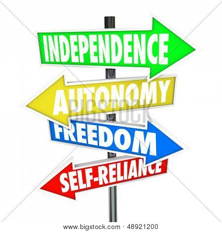 The words Independence, Autonomy, Freedom and Self-Reliance on four road sign arrows pointing and directing you to a life of liberty and self determination poster
