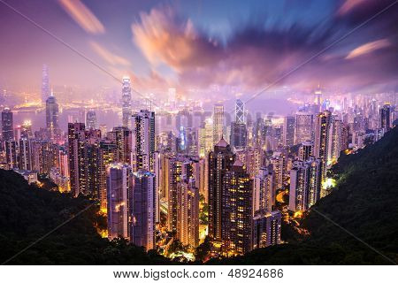 Hong Kong, China skyline from Victoria Peak.