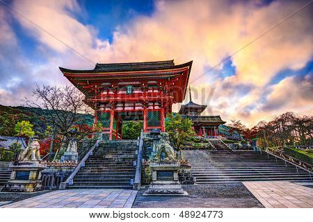 Kiyomizu-dera Temple Gate in Kyoto, Japan in the morning. poster