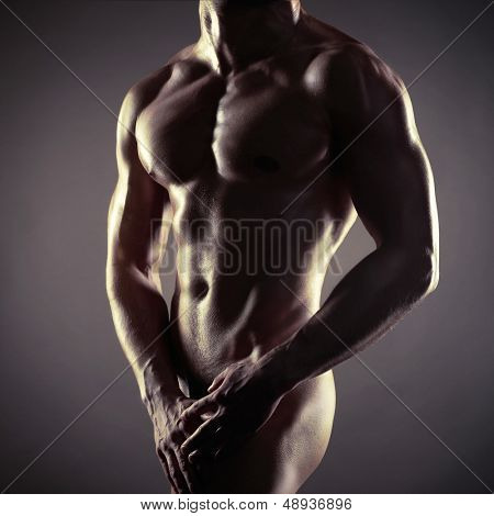 Poto of naked athlete with strong body poster