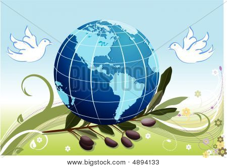 Peace On Earth With White Doves And A Branch Of Olives