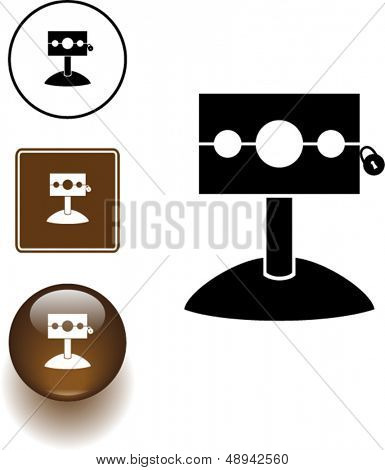 medieval stockade symbol sign and button