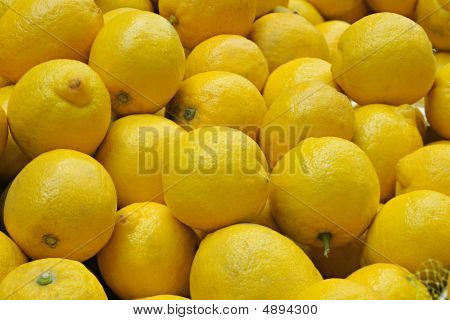 Closeup Of Collection Of Whole Lemons