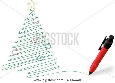 Pen Ink Drawing Writing Merry Christmas Tree Decorations