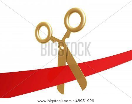 Golden Scissors And Ribbon