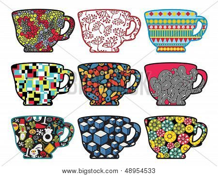 Set of tea cups with cool patterns. Vector illustration. poster
