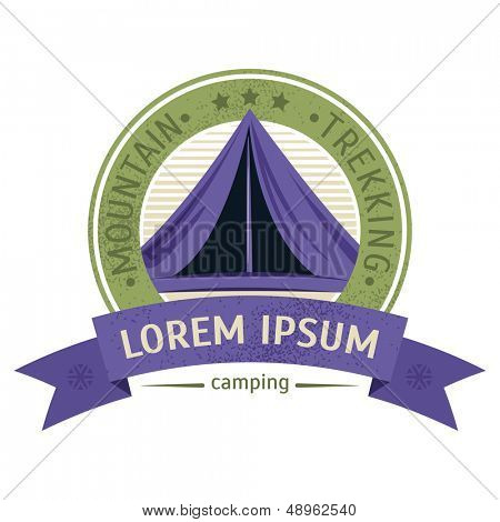 Emblem of the campsite. Vector illustration on the theme of a hike poster