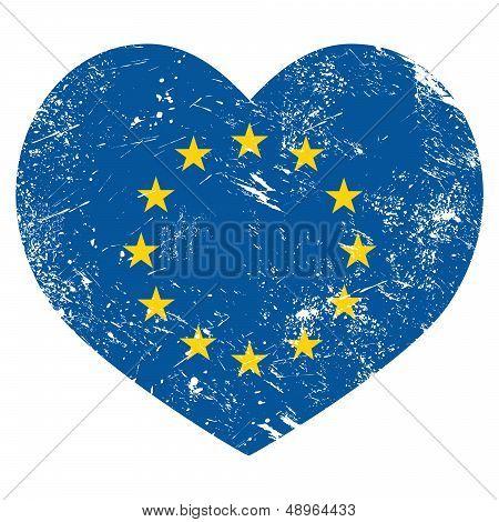 EU, I love European Union heart retro flag