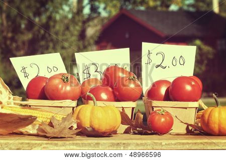 Fresh ripened tomatoes for sale at roadside stand