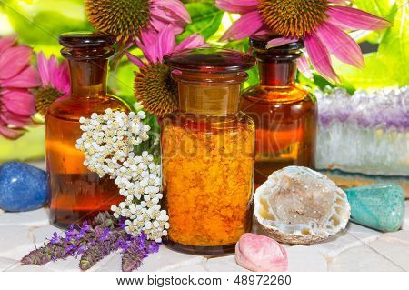 Naturopathy With Gemstones And Flowers