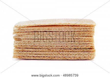 spanish barquillos, square-shaped wafers to serve with corte de helado, ice cream sandwich, on a white background