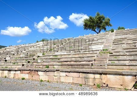The Stands On Stadium In Ancient Messene (messinia), Peloponnes, Greece