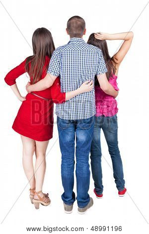 Back view of three friends  (woman and man). looking into distance. Rear view people collection.  backside view of person.  Isolated over white background.