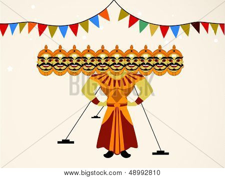 Indian festival Dussehra concept with illustration of Ravan with his ten heads.