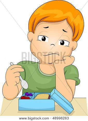 Illustration of a Bored Boy Picking at the Food in His Lunchbox