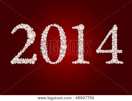 Vector diamond 2014 text on red background  poster