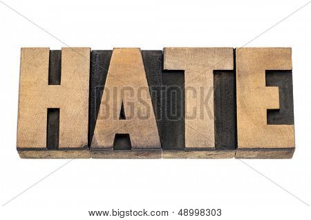 hate word  - isolated text in vintage letterpress wood type