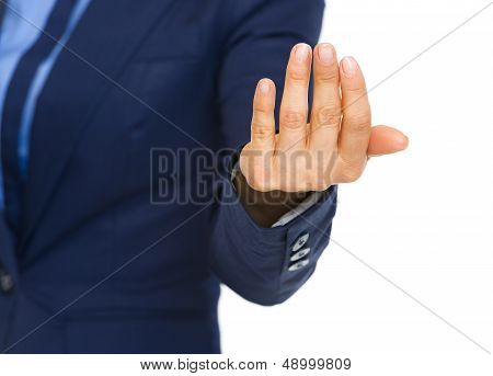 Closeup On Business Woman Beckoning With Hand