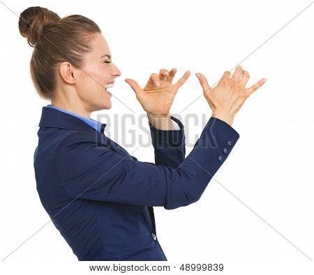 Happy Business Woman Teasing
