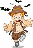 Illustration of Kid Boy Running Away from Bats poster