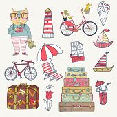 Travel concept set in vector. Cartoon hipster cat with bicycle, dog, ice-cream, sail boat, cases, chocolate, tulip and cocktails. Cartoon funny set poster