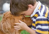 Little Boy Being Affectionate with His Dog poster