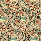 Floral mechanism steampunk seamless pattern can be used for pattern fills, web page background, surface textures. poster