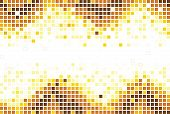 Colorful mosaic background in yellow colors over white poster