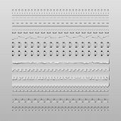 Design elements vector set of high detailed stitches and dividers poster