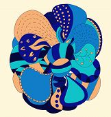 Abstract hand draw strange flower style figure in blue and orange colors poster
