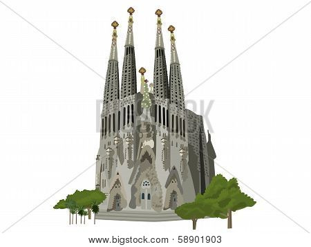 Sagrada Familia Church Vector Illustration