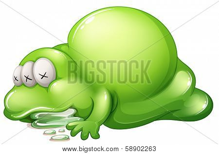 Illustration of a dead greenslime monster on a white background