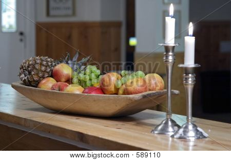 Candles And Fruits