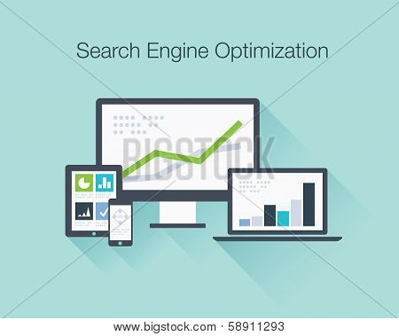 Search Engine Optimization flat icon illustration vector concept shows SEO data analysis in tablet,
