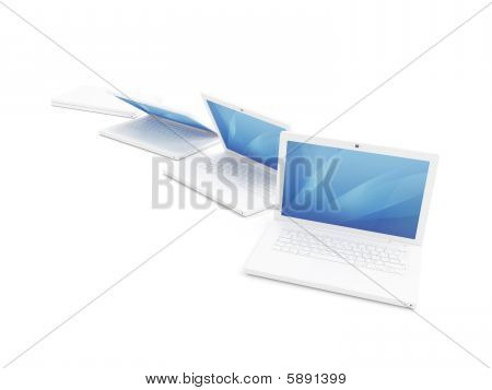 Isolated Render Of White Laptop
